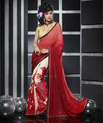 Red & White Saree
