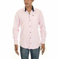 Mens Cotton Plain Pink Shirt, Size: 38-40
