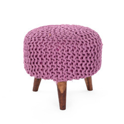 Knitted Round Wooden Stool Ottoman
