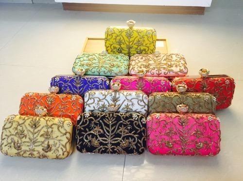 Zardosi Handwork Box Clutches