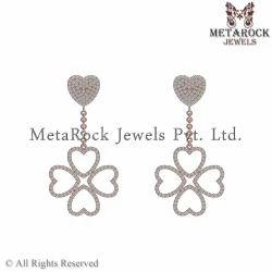 Designer 14k Rose Gold Pave Diamond Earring