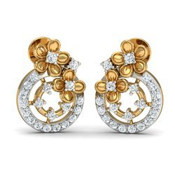 14k Hallmark  Traditional Gold Diamond Earring