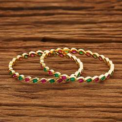 Gold Plated CZ 2 PC Bangles