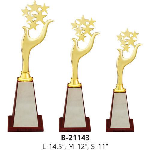 Brass Golden Gold Plated Trophy With Stars