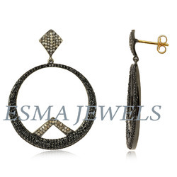 Round Black Stone Pave Earring