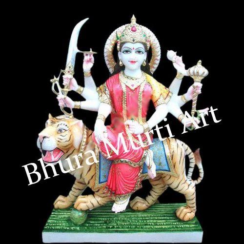White Marble Maa Durga Marble Statue