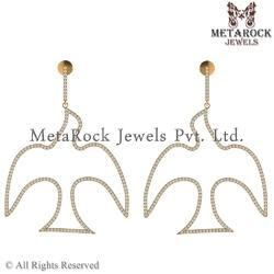 14k Yellow Gold Pigeon Design Diamond Earring Jewelry