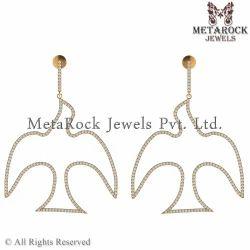 14k Yellow Gold Pigeon Design Diamond Earring Jewelry