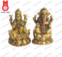 Lord Ganesha & Laxmi Sitting On Lotus