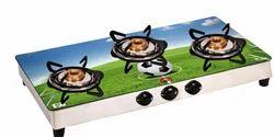 3 Burner Glass Top Cook Top Gas Stove