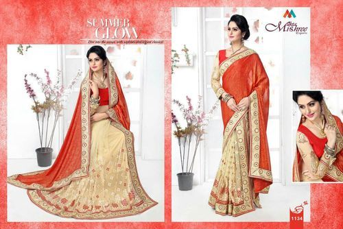Red & Beige Two Piece Silk Lehenga Saree