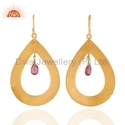 Pink Tourmaline Gemstone Gold Plated Earring