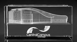 3D Laser Engraving Central Campus Crystal Cube