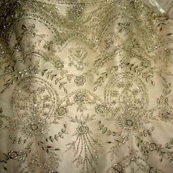 Silk Creme Embroidered Fabric