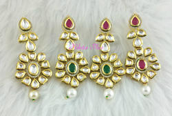 Brass Nikita Plus Kundan Earring, Shape: Round