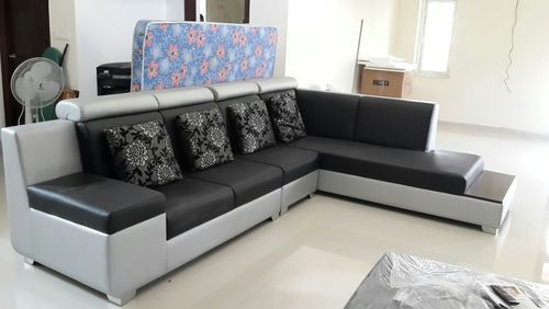 Leatherete And Leather Black And Red Corner Sofa Set, Rs 42000 ...