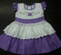 Designer Purple Cotton Baby Frock