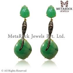 Emerald Gemstone Diamond Earrings