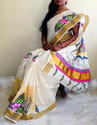 Hand Painted Kerala  Saree With Blouse- Ready To Ship