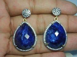 Dyed Blue Sapphire CZ Set Earring