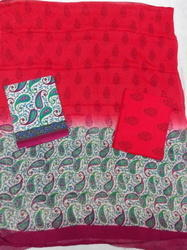 Bordered Cotton Suit Red