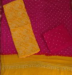 Yellow Bandhani Dress Material