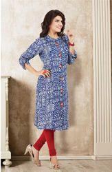Beautiful Blue Cotton Rayon Printed Kurtis