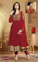 Party Wear Fancy Red Anarkali Suit