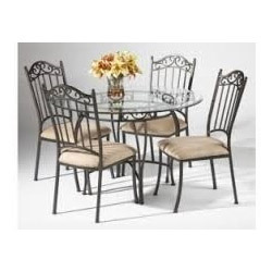 743e647700de Wrought Iron Glass Dining Table - Furniture Mall