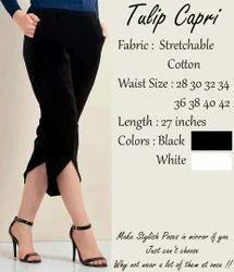Stretchable Lycra Cotton Tulip Capri pants, Size: Multiple