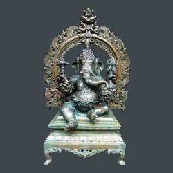 Bronze Ganesha In Simhasanam 2 Feet - Statues