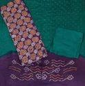 Unstitched Cotton Rai Dana Bandhej Suit