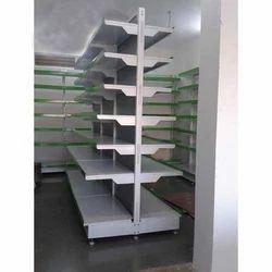 White And Green Wooden Supermarket Shelving Rack, 7 Shelves, for Showroom