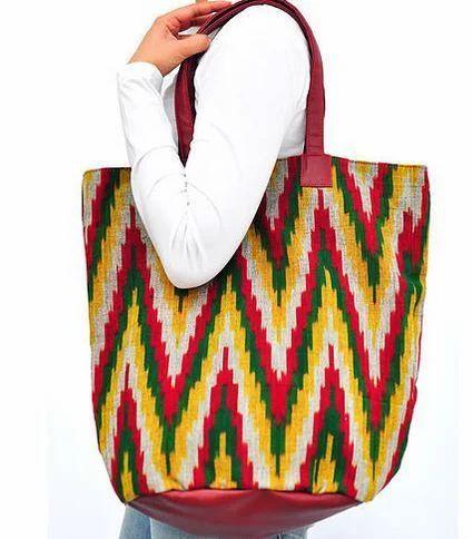 Multicolor Maroon Ikat Tote Bag