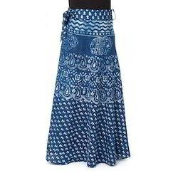 Cotton Printed Wraparound Long Skirt