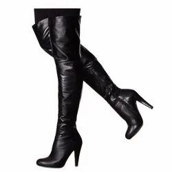 Black Ladies Leather Long Boot, Box