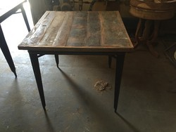 Industrial Bar Table With Reclaimed Wood Top