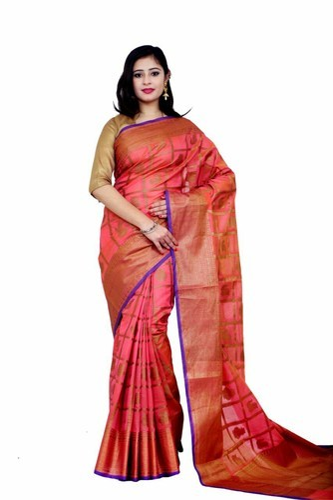 337b834fd17b7b Kalamkari Prints Chanderi Cotton Saree, Hand, 6.3 m (with blouse piece)
