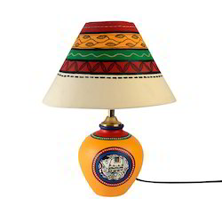 Terracotta lamp shade at best price in india madhubani hand painted table lamp in terracotta aloadofball Image collections