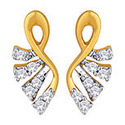 18ct Gold Earring With Multiple Diamond And Leek Design