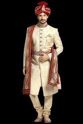 Beige Royal Brocade Sherwani