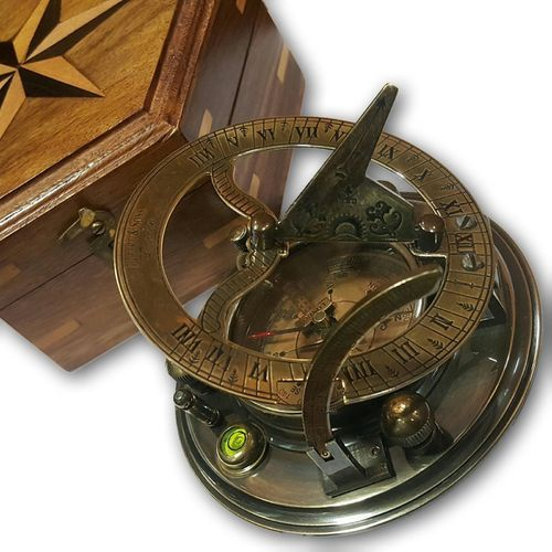 Vintage Maritime Sundial Compass Navy Ship Working Hiking Brass Handmade Compass