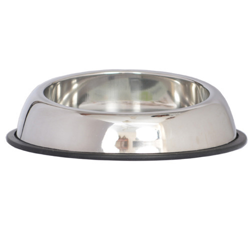 Stainless Steel Silver Anti Skid Base Heavy Pet Feed Steel Bowl