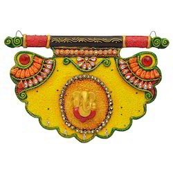 Wooden & Paper Mache Pankhi Shape Ganesha Key Holder