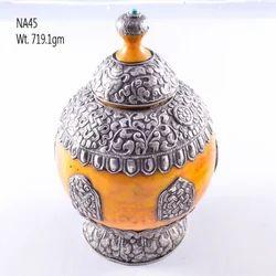 Silver Nepali Yellow Agate Stone Box
