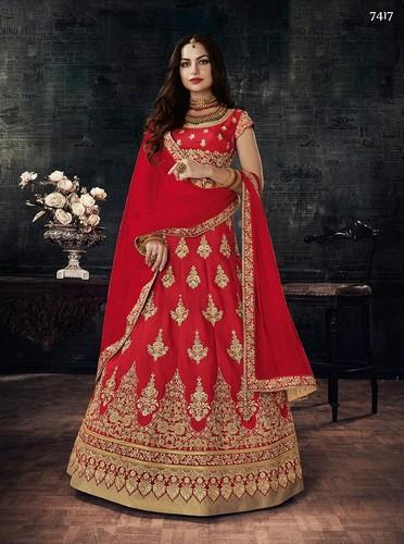 684b526a40 Silk Red Designer Embroidery Lehenga Choli, Rs 6255 /piece | ID ...