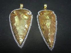 Gold Dipped CZ Set Arrowhead Pendant