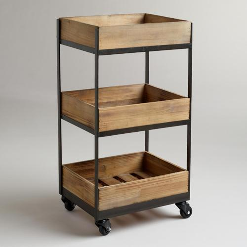 Pooja Indsutreis 3-Shelf Wooden Gavin Rolling Cart