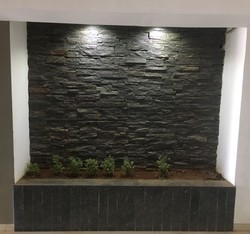 Lava Black Rockface Stone Wall Tiles, Thickness: 10-15 mm