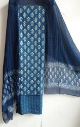 Veer Handicrafts Cotton Natural Indigo Hand Block Printed Suit, For Clothing